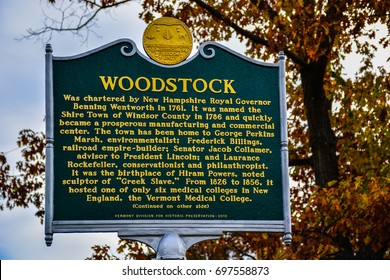 Woodstock, VT - Oct. 25, 2014: Woodstock History Signage - Erected by the Vermont Division for Historic Preservation in 2010.