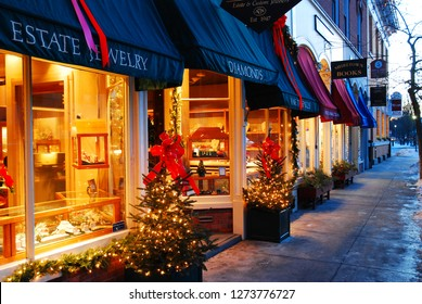 Woodstock, VT, USA December 17, 2009 Christmas lights and decorations shine in Woodstock, Vermont's downtown district