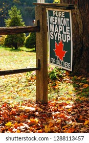 Woodstock, VT, USA October 10, 2012 A roadside farm near Woodstock, Vermont advertises that pure Vermont maple syrup is on sale
