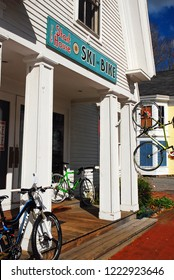 Woodstock, VT, USA October 11, 2012 An outdoor outfitters store in Woodstock Vermont offers sporting equipment for summer and winter visitors