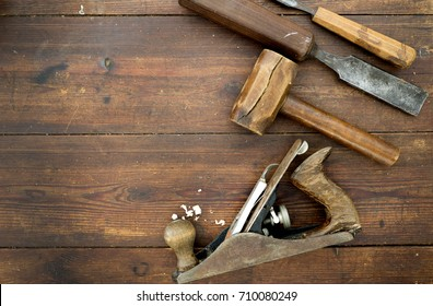 Woodwork tools on table, flat lay overhead