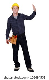 Woodworker on white background