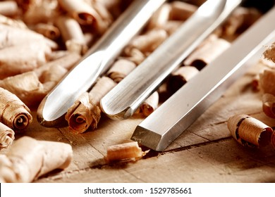 Woodworkers  shop. Woodturning project to making a handmade bowls. Woodturning tools. Skew and bowl gouges.