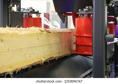 Woodworking enterprise. Wood Cutting Machine. Milled log  lumber milling machine.
