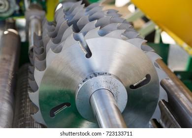 Woodworking. Sawmill. Cutting machine.