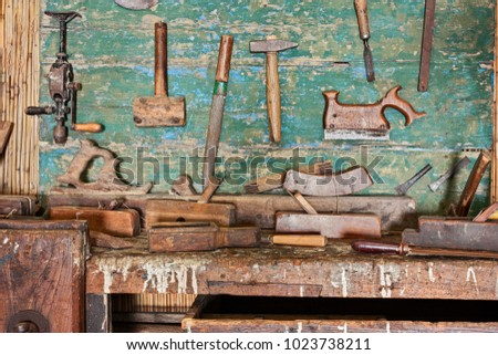 Woodworking Tools Ancient Carpentry Old Bench Stock Photo Edit Now