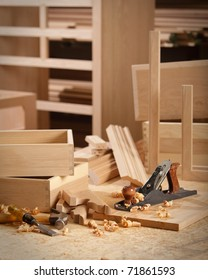 Woodworking tools in cabinet makers shop