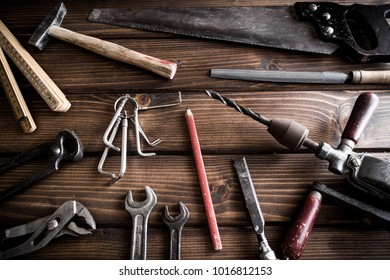 woodworking tools on wooden table,carpeting tools