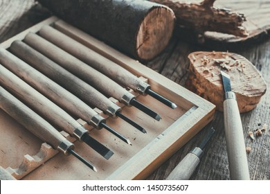 Woodworking tools for wood carving and trees cuts on wooden board.