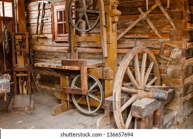 Woodworking tools with wooden background