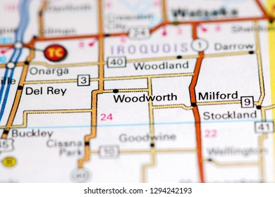 Woodworth. Illinois. USA on a map