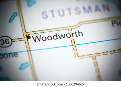 Woodworth. North Dakota. USA on a map.