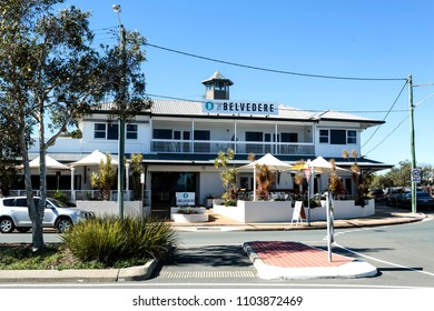 WOODY POINT, AUSTRALIA – May 31, 2018:  Situated right at the southern end of the Redcliffe Peninsula and overlooking Bramble Bay is The Belvedere Hotel which opened in 1901