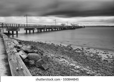 Woody Point Jetty in Redcliffe. Long exposure black and white.