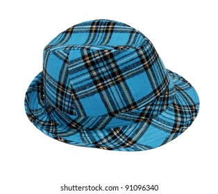 wool checked hat isolated on white background