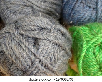 Wool cotton skein thread multicolored gray needlework counter hobby