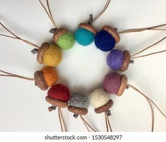 Wool felted acorn ornament with natural oak cap, handmade christmas tree decoration idea, home Waldorf design, multicolor handmade