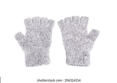Wool fingerless gloves, isolated on white, Pair of Fingerless Gloves