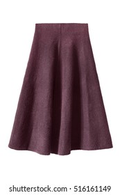 Wool flared knee length skirt isolated over white