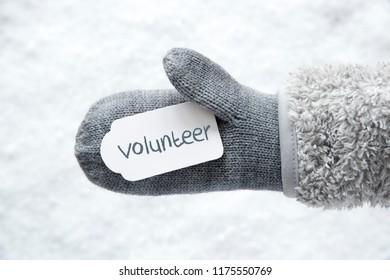 Wool Glove, Label, Snow, English Text Volunteer