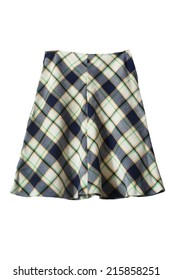 Wool plaid knee length skirt on white background
