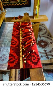 Wool rugs created on wooden looms exhibited in Teotitlan del Valle, Oaxaca, Mexico.