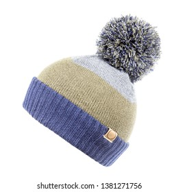 bf069aca430 Wool Ski Knit Hat with a Faux Fur Pompom Isolated on White Background.  Outdoors Casual