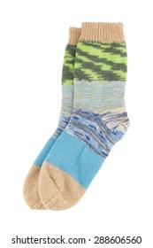 Wool socks isolated on white