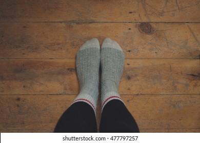 Wool Socks Wood Floor