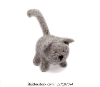 Wool toy cat felting