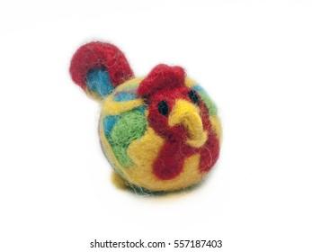Wool toy cock felting