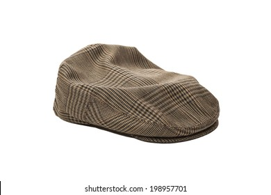 Wool tweed men's cap isolated on white background