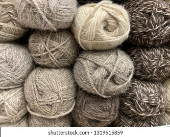 Wool yarn natural color. Rustic style. ready for knitting.