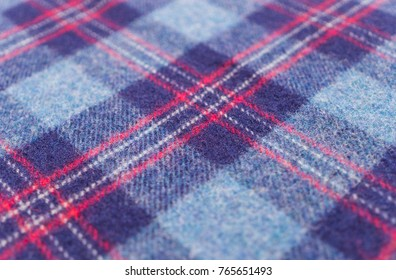 Woolen blue checkered fabric in Scottish style