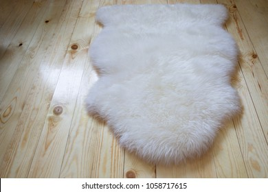 woolen carpet on the wooden floor