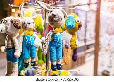 Woolen handmade different toys for sale ar souvenir shop