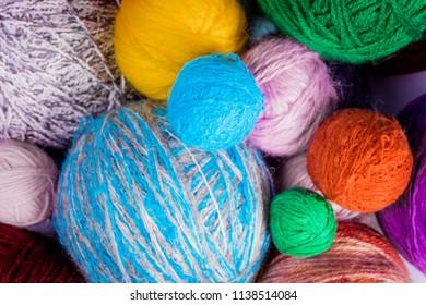 Woolen yarn balls. Yarn for knitting