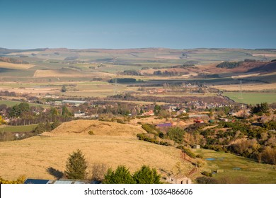 Wooler Town from Humbleton Hill, a small market town in Northumberland, England and lies at the edge of Northumberland National Park in the foothills of the Cheviots