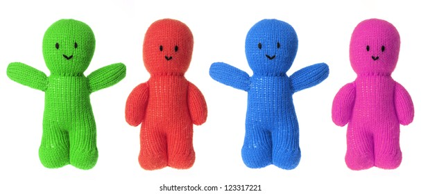 Woollen Dolls on White Background