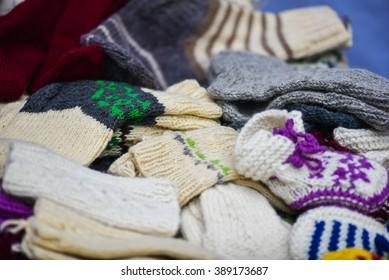Woollen sox in the famous handicraft mart Kaziukas in Vilnius, Lithuania