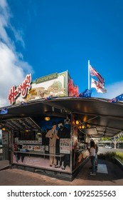 Woolloomoollo, Sydney, Australia -January 26, 2018: Harry's Cafe de Wheeels is not a simple kiosk, it is an Australian icon serving pies, and hot dogs to celebrities, tourists and locals since 1945.