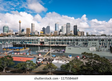 Woolloomooloo Bay, Sydney, Australia -September 03, 2018: Sydney City Views and at Woolloomoollo Bay with Royal Australian Navy ships in the foreground on a beautiful sunny morning.