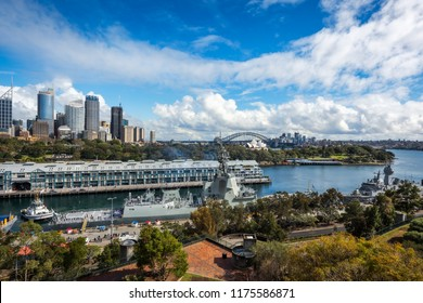 Woolloomooloo Bay, Sydney, Australia -September 03, 2018: Sydney Skyline and Woolloomooloo Bay view from above at the Embarkation Park on a beautiful sunny morning.
