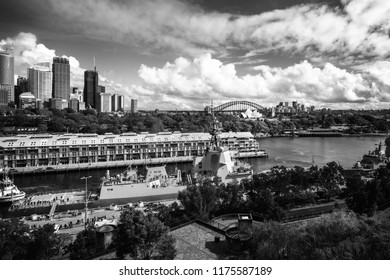 Woolloomooloo Bay, Sydney, Australia -September 03, 2018: Sydney City Views in black and white at Woolloomooloo Bay from above at the Embarkation Park on a beautiful sunny morning.