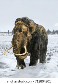 Woolly mammoth on a winter background.