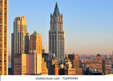Woolworth Building at sunrise in New York City