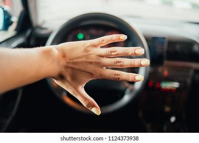 wooman hand car steering wheel