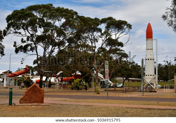 WOOMERA, SA, AUSTRALIA - NOVEMBER 12: Aircrafts and missiles on public outdoor exhibtition and historic aerospace site in South Australia, on November 12, 2017 in Woomera, Australia