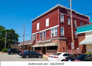 WOONSOCKET, RI, USA - AUG. 20, 2019: Historic Ye Olde English Fish & Chips Restaurant on Market Square in Main Street Historic District in downtown Woonsocket, Rhode Island RI, USA.