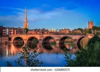 Worcester bridge at sunset
